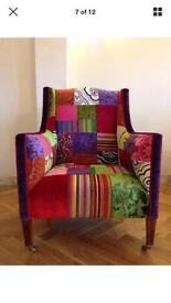 Hand made patchwork armchair and footstool. Designers guild fabric