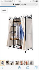wardrobe Breezy Metal Frane Cotton Cover Beige 109x171x57 cm