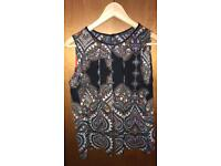Black patterned sleeveless top - Size 12