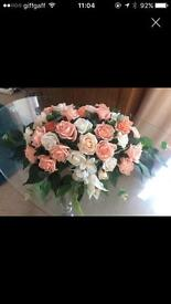 Peach and ivory silk flowers