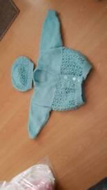 6 -12 months girls handmade cardigan and hat