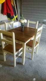 Mexican pine table and four chairs