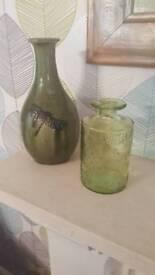 X2 green vases