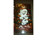 Mother of pearl Dragon wall art pair for sale.
