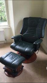 Leather swivel/reclining chair & footstool