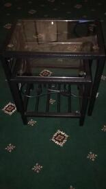 2 black glass tables £20