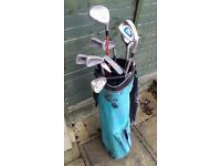 Small set of Golf Irons, putters & 2 woods including bag