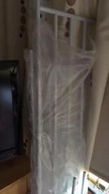 White metal bunk bed