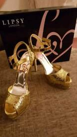 Lipsy gold glitter occasion shoes size 4