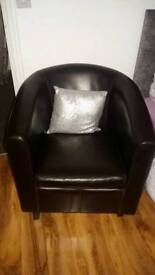 Brown leather look tub chair