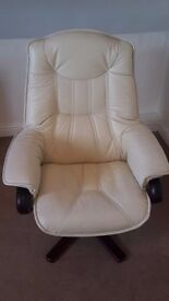 Cream Leather Swivel Chair