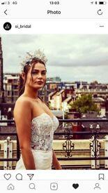 Stunning designer bridal wedding crown tiara headpiece hair piece pearl