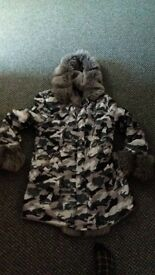 womans fur army winter coat size 10