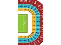 Wales v England 2017 x2 seats L18 row1 behind posts