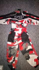 Junior WulfSports Kids Motocross Kit, includes Wulf Cub Helmet,Goggles,Race Suit Overalls And Boots