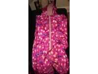 Girl's all in one rainsuit, fleece lined. 3-4 years