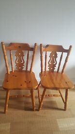 2x solid pine chairs £50