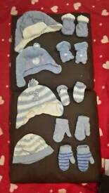 Baby boy 4 winter hats and 5 pair of mittens