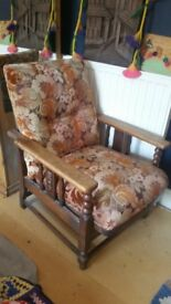 Vintage recliner wooden chair