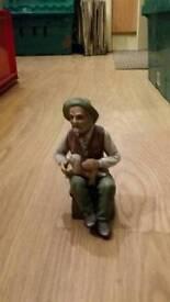 Old Man & Dog Figurine