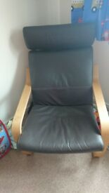 Ikea brown leather armchair in good condition