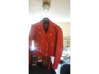 Lady's red leather jacket punk stylish