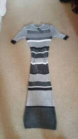 black and grey warm winter maxi jumper dress from river island size 6 brand new with tags