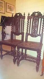 Victorian twisted oak chairs