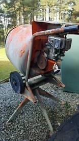 Cement mixer engine powered