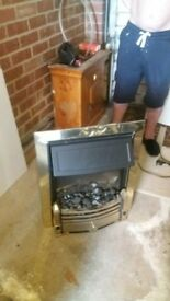electric fire black and brass £70