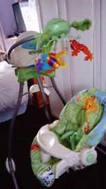 Fisher price rainforest open cradle swing