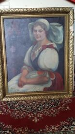 Antique Large Beautiful Painting