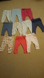 Bundle of baby girl leggings and dresses size 3-6