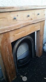Thick Solid wood fireplace and cast iron inset