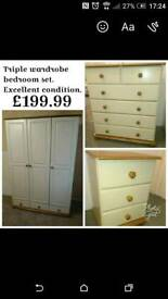Matching wardrobe chest drawers bedside