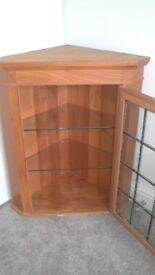 Corner display cupboard - solid elm