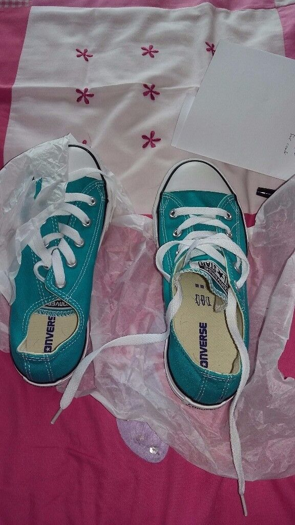 Green brand new converse size 1 and 1/2