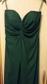 Beautiful dark green full length dress. Bridesmaid dress, bought for £250, worn once.