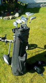 Howson Hunter golf club set including ping putter, golf bag and golf trolley