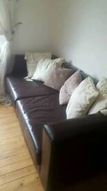 Brown real leather 3 seater and chair
