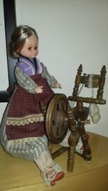 1978 Vintage Victorian Dressed Seated Doll with Spinning Wheel (GREAT CONDITION)