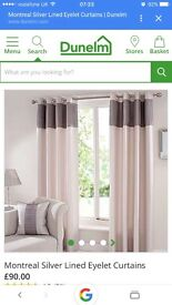 Silver grey 90 x 90 eyelet curtains smoke and pet free home like new