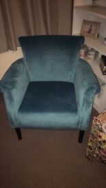 Blue velvet arm chair