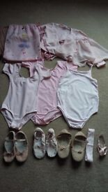 Ballet bundle including leotards, ballet shoes, wrap top, skirt and bag