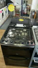ZANUSSI 60CM GAS DOUBLE OVEN COOKER IN BLACK