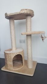 Small Beige Cat Tree with Den and Sleeping Platform