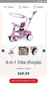 4 in 1 Tikes trike Blue and Pink