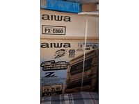 unopened aiwa PX-E860 stereo turntable system, midi hi-fi system and speakers