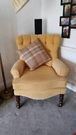 Mustard queen Anne winged chair