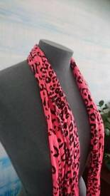 Florescent pink animal print scarf